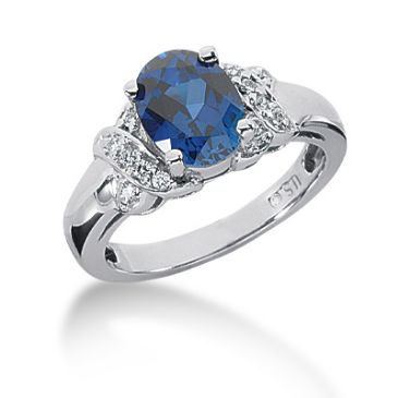 14K Prong Set, Oval Cut Sapphire, Round Brilliant Diamond Ring (0.12ctw.)