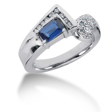 14K Round Brilliant Diamonds 'L' Shape around Sapphire (0.35ctw.)