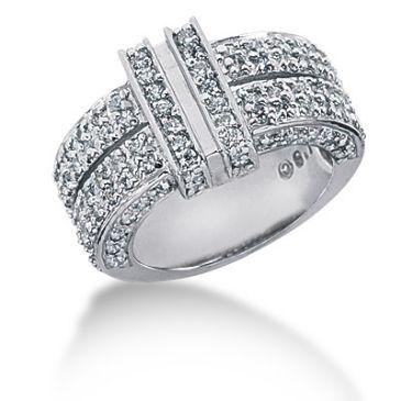14K Double Channel Set face, Round Brilliant Diamonds Surfacing (1.10ctw.)