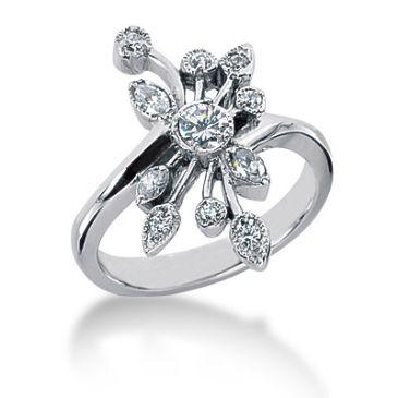 14K Spread Petals, Marquise, Round Brilliant Diamond ring (0.39ctw.)