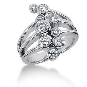 14K Bezel Set Bubbled Round Brilliant Diamonds (1.04ctw.)
