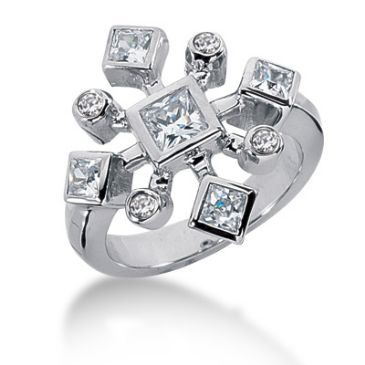 14K Sprinkled Bezel Set Princess Cut, Round Brilliant Diamonds (1.2ctw.)