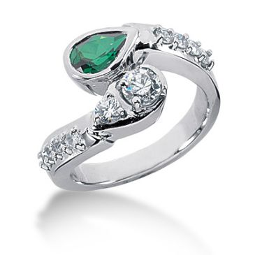 14K Bezel Set Pear Emerald, Prong Set Round Brilliant Diamonds (0.68ctw.)