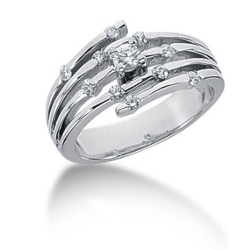 14K Spread Round Brilliant Diamonds on Spiral Anniversary Ring (0.3ctw.)