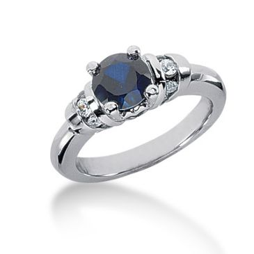 14K Prong Set Round Sapphire, Round Brilliant Diamond Ring (0.18ctw.)
