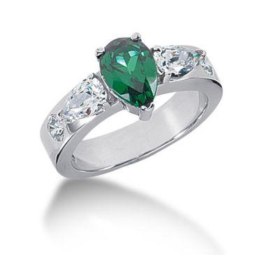 14K Prong Set Pear Cut Emerald, Horizontal Pear Shape Diamonds (1.0ctw.)