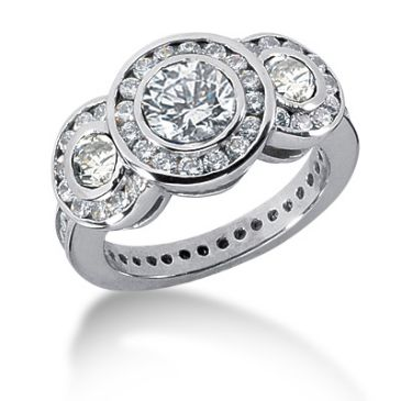 14K Illuminating Round Brilliant Bezel Set Diamond Ring (2.74ctw.)