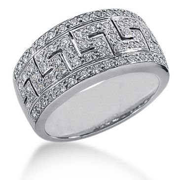 18K Artsy Greek Key Round Brilliant Diamond Ring (0.74ctw.)