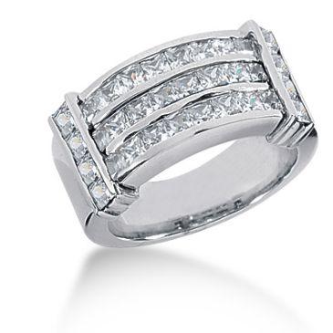 18K Channel Set Princess Cut Diamond Anniversary Ring (2.62ctw.)