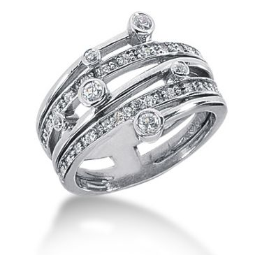 18K Sprinkled Round Brilliant Diamond Anniversary Ring (0.41ctw.)