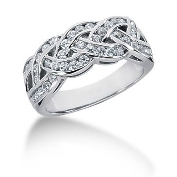 18K Thin Braided, Round Brilliant Channel Set Ring (0.88ctw.)