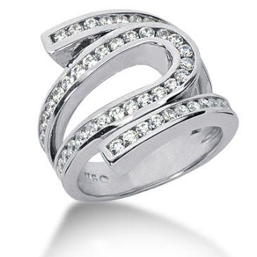 18K Wave Loop Design Round Brilliant Diamond Ring (1.48ctw.)