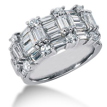 18K Patterned Round Brilliant, Straight Baguette Diamond Ring (4ctw.)