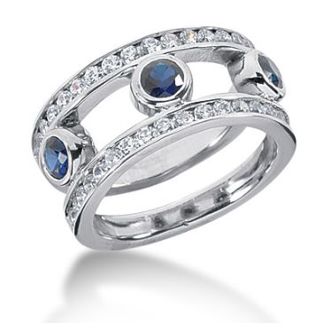18K Open Faced Sapphire Round Brilliant Diamond Anniversary Ring (1.5ctw.)