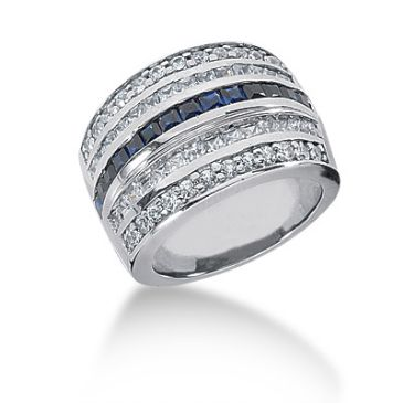 18K Princess Cut Sapphire Lined Diamond Anniversary Ring (2.16ctw.)