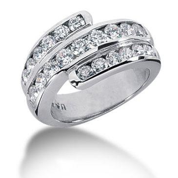 18K Round Brilliant Diamond Swirl Anniversary Ring (1.74ctw.)