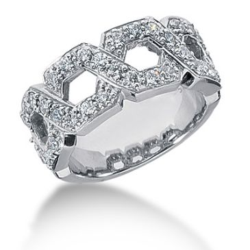 18K Intersecting Round Brilliant Diamond Anniversary Ring (0.64ctw.)