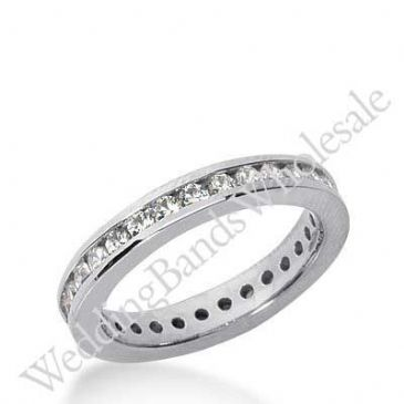 14k Gold Diamond Eternity Wedding Bands, Channel Setting 0.50 ct. DEB421214K