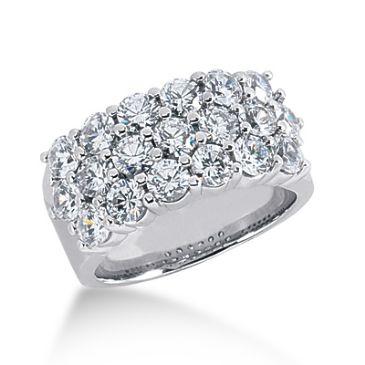 Platinum Three Row Pattrened, Round Brilliant Diamond Ring (2.85 ctw.)