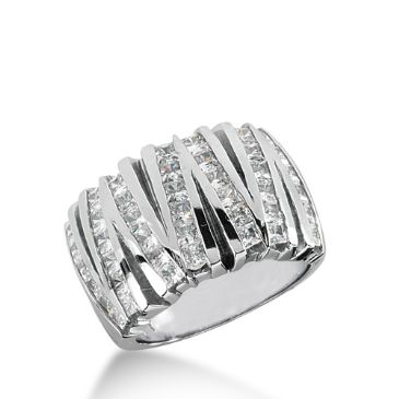 14K White Gold V shaped Diamond Anniversary Band (1.75ctw)