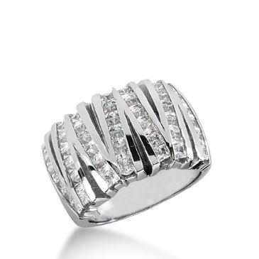 Platinum White Gold V shaped Diamond Anniversary Band (1.75ctw)