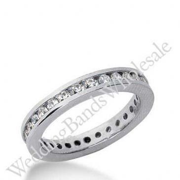 14k Gold Diamond Eternity Wedding Bands, Channel Setting 1.00 ct. DEB421314K