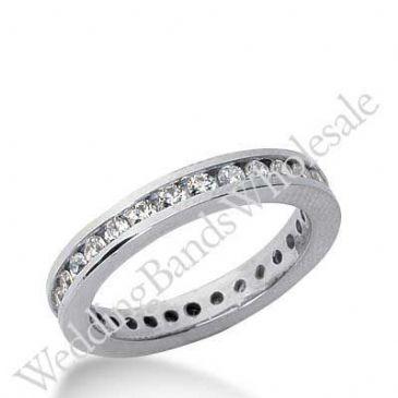 14k Gold Diamond Eternity Wedding Bands, Channel Setting 1.00 ct. DEB421314K