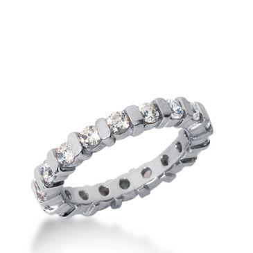 18k Gold Diamond Eternity Wedding Bands, Bar Setting 1.50 ct. DEB32418K