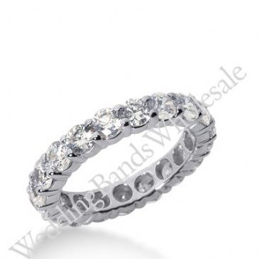 14k Gold Diamond Eternity Wedding Bands, Shared Prong Setting 3.00 ct. DEB10015114K
