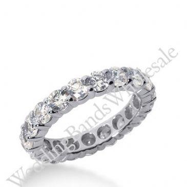 14k Gold Diamond Eternity Wedding Bands, Shared Prong Setting 3.00 ct. DEB10015114K