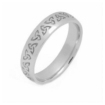 14k Gold 4mm Celtic Trinity Knot Wedding Band C4008