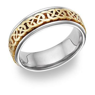 14k Gold 7mm Two Tone Celtic Knot Wedding Band C4003