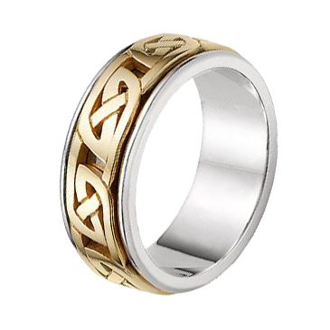 14k Gold Two Tone Celtic Knot Wedding Band 4017