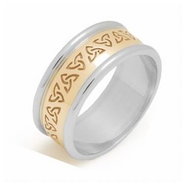 14k Gold 7mm Two Tone Celtic Trinity Knot Wedding Band C4012