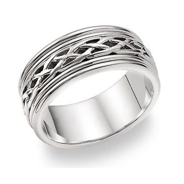 18k Gold 8mm Celtic Weave Wedding Band C4001