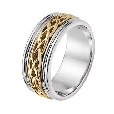 18k Gold 8mm Two Tone Celtic Weave Wedding Band C4004