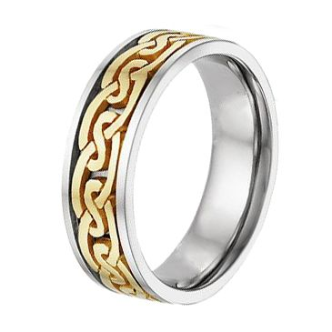 18K Gold Two Tone Celtic Wedding Band 4019