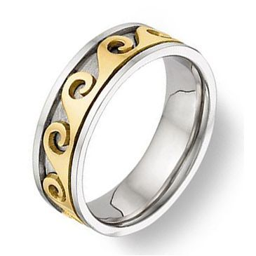 18K Gold 7mm Two Tone Celtic Spiral Wedding Band 4020