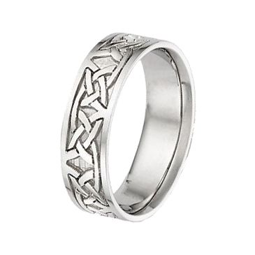 950 Platinum 7mm Celtic Knot Wedding Band C4005