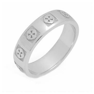 950 Platinum 5.5mm Celtic Cross Wedding Band C4013