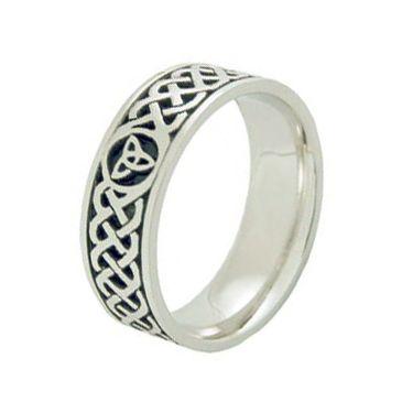 950 Platinum 7mm Celtic Trinity Knot Wedding Band C4014