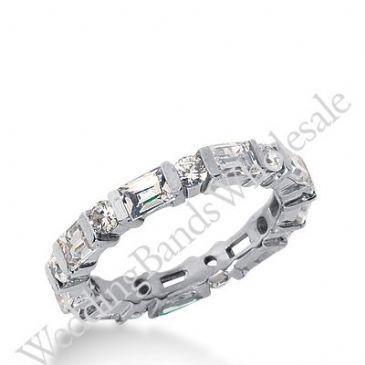 14k Gold Diamond Eternity Wedding Bands, Bar Setting 2.00 ctw. DEB17514K