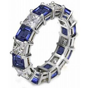 14k Shared Prong 2.70 Carat Sapphire & Diamond Eternity Band
