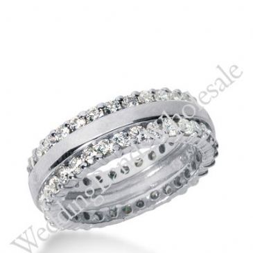 14k Gold Diamond Eternity Wedding Bands, Prong Setting 2.00 ct. DEB28014K