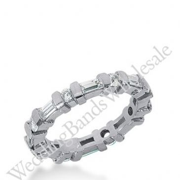14k Gold Diamond Eternity Wedding Bands, Bar Setting 1.50 ctw. DEB17414K