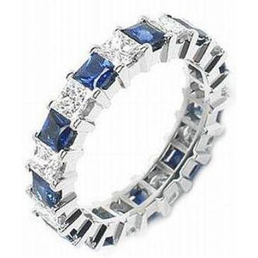 14k Shared Prong 2.00 Carat Sapphire & Diamond Eternity Band
