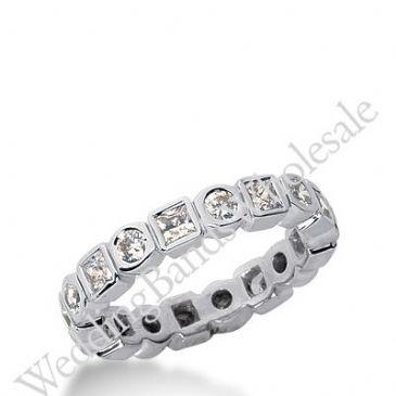 14k Gold Diamond Eternity Wedding Bands, Bezel Setting 1.00 ctw. DEB19814K