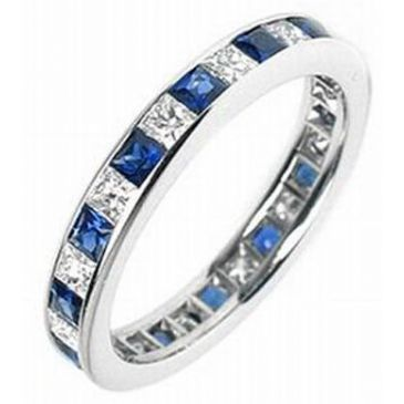 14k Channel-Set 1.00 Carat Diamond & Sapphire Eternity Band