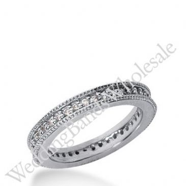 14k Gold Milgrain Diamond Eternity Wedding Bands, Prong Setting 0.50 ct. DEB37614K