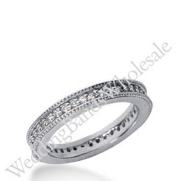14k Gold Milgrain Diamond Eternity Wedding Bands, Prong Setting 0.50 ct. DEB37614K